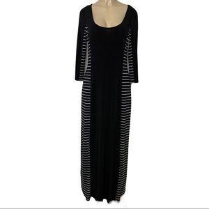 CALVIN KLEIN Striped Maxi Dress Black White NWT 12